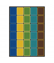 Joy Carpets Blocks Abound Rectangle Classroom Rug, Earthtone