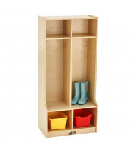 ECR4Kids Birch 2-Section Cubby Coat Locker with Step