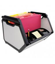 """Advantus 14"""" D Letter Stackable Storage Box, Black"""