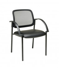 Office Star Thick Padded Mesh-Back Faux Leather Mid-Back Guest Chair (Model 183905)