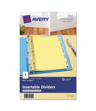 "Avery WorkSaver Big Clear 5-Tab 5-1/2"" x 8-1/2"" Insertable Dividers, Buff, 1 Set"