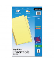 "Avery WorkSaver Big Clear 8-Tab 8-1/2"" x 14"" Insertable Dividers, Buff, 1 Set"