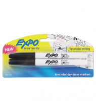 Expo Low-Odor Dry Erase Marker, Ultra Fine Point, Black, 2-Pack