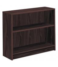 HON 1871N 2-Shelf Square Edge Laminate Bookcase in Mahogany Finish