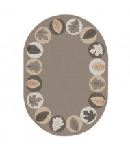 Joy Carpets Lively Leaves Oval Classroom Rug, Neutral