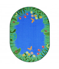 Joy Carpets Merry Meadows Oval Classroom Rug, Blue