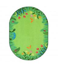 Joy Carpets Merry Meadows Oval Classroom Rug, Green