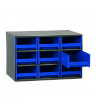 "Akro-Mils 11"" D 19-Series Steel Drawer Cabinet Unit with Drawer Bins (Shown with 9 Blue Bins)"