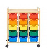 ECR4Kids 15-Bin Mobile Steel Classroom Storage Organizer, Sand, Assorted Bins