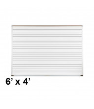 Best-Rite 202AG-S1 Aluminum Trim 6 ft. x 4 ft. Music Staff Porcelain Magnetic Whiteboard