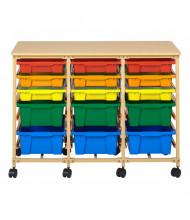 ECR4Kids 15-Tray Mobile Steel Classroom Storage Organizer, Sand, Assorted Bins