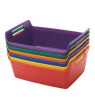 ECR4Kids Bendi-Bin Plastic Storage Bin, Large, Assorted, 6-Pack