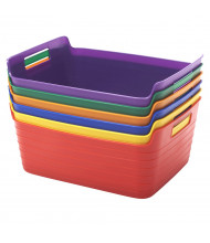 ECR4Kids Bendi-Bin Plastic Storage Bin, Large, Assorted, 6-Pack