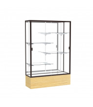 "Waddell Reliant 2074 Series Floor Display Case 48""W x 72""H x 16""D (mirror back/dark bronze frame/light oak base)"