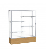 "Waddell Reliant 2075 Series Floor Display Case 60""W x 72""H x 16""D (white back/satin natural frame/light oak base)"