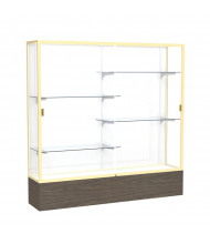 "Waddell Reliant 2076 Series Floor Display Case 72""W x 72""H x 16""D (white back/champagne gold frame/walnut base)"