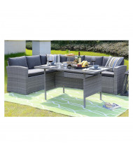 Homewell Outdoor Wicker Dining Set, Grey