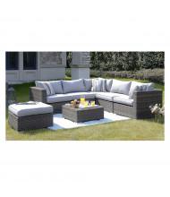 Homewell Outdoor Wicker Lounge Conversation Sofa Set, Brown/Light Grey