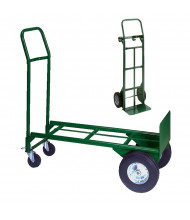 "Wesco Greenline 2-in-1 13"" x 36"" Bed 500-600 lb Load Steel Convertible Hand Trucks"