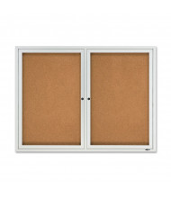 Quartet 2124 Outdoor 2 Door 4 ft. x 3 ft. Aluminum Enclosed Cork Bulletin Board