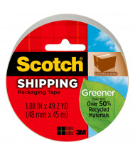 "Scotch 1.88"" x 49.2 yds Clear Greener Commercial Grade Packaging Tape, 3"" Core"