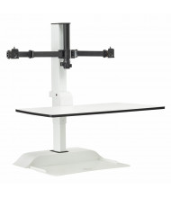 Safco Rise Dual Monitor Electric Sit-Stand Converter Desk Mount, White