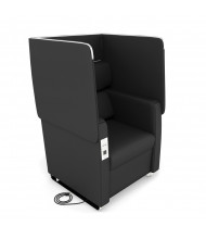OFM Morph 2201 Vinyl Club Chair with Electrical Outlet & USB (in midnight black)