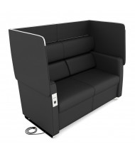OFM Morph 2202 Vinyl Sofa with Electrical Outlet & USB (in midnight black)