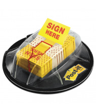 "Post-it 1"" x 1-3/4"" ""Sign Here"" Flags in Dispenser, Yellow, 200 Flags/Dispenser"