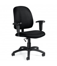 Global Goal 2237-6 Fabric Low-Back Office Task Chair, Adjustable Arms. Shown in Black