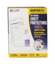 "C-Line 8-1/2"" x 11"" Top-Load Super Heavyweight Clear Poly Sheet Protectors, 50/Box"