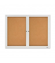 Quartet 2364 Indoor 2 Door 4 ft. x 3 ft. Aluminum Frame Enclosed Cork Bulletin Board