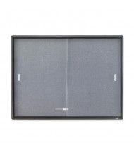 Quartet 2364S Indoor 2 Sliding Door 4 ft. x 3 ft. Graphite Frame Enclosed Fabric Bulletin Board