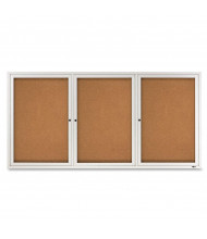 Quartet 2366 Indoor 3 Door 6 ft. x 3 ft. Aluminum Frame Enclosed Cork Bulletin Board