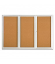 Quartet 2367 Indoor 3 Door 6 ft. x 4 ft. Aluminum Frame Enclosed Cork Bulletin Board