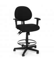 OFM 241-AA-DK 24/7 24-Hour Fabric Drafting Chair, Footring (Shown in Black)