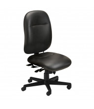 Mayline 24-Hour 2424AGL 300 lb. Genuine Leather Mid-Back High-Performance Executive Office Chair