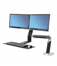 Ergotron WorkFit-A 24312026 Sit-Stand Dual Monitor Workstation, Black