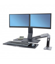 Ergotron WorkFit-A 24316026 Sit-Stand Dual Monitor Workstation with Worksurface+, Black