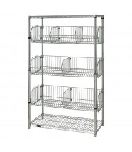 "Quantum Storage 5-Shelf 63"" H Wire Basket Wire Shelving Units (Shown in Steel)"