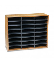 Fellowes 24-Compartment Fiberboard Mail Sorter, Medium Oak