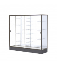"Waddell Colossus 2606 Series Aluminum Frame Black Base Floor Display Case 72"" W x 66""H x 20""D (white back/dark bronze)"