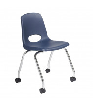 "ECR4Kids 18"" H Mobile Classroom Chair, 2-Pack (Shown in Navy)"