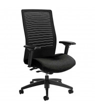Global Loover 2661-8 Mesh & Fabric High-Back Executive Office Chair, Adjustable Arms. Shown in Black.