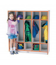 Jonti-Craft Rainbow Accents 5-Section Cubbie Coat Locker (Shown in Orange)