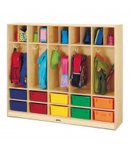 Jonti-Craft Large 5-Section Cubbie Coat Locker Organizer, 10 Colored Tubs