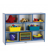 Jonti-Craft Rainbow Accents Super-Sized Mobile Cubbie Classroom Storage (in blue, example of use)