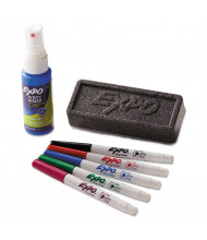 Expo Low-Odor Dry-Erase Marker Starter Set, Ultra Fine, Assorted, 5 Markers, 1 Eraser, Board Cleaner
