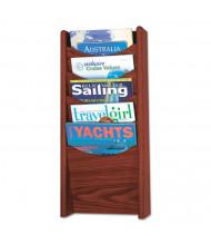 "Safco 24"" H 5-Pocket Solid Wood Wall-Mount Literature Display Rack, Mahogany"