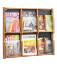 "Safco Expose 26"" H 6-Pocket Magazine and Pamphlet Display, Medium Oak"